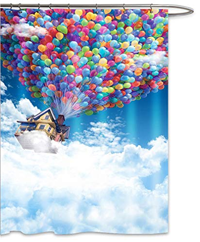 FOOG Fantasy Bunte Luftballon-Duschvorhänge Set Hausfliegen im Himmel, Stoff, schimmelresistent, wasserdicht, lustige Badezimmer-Vorhänge, Blau, Weiß, Rot, Grün, Gelb 70