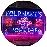 """Personalized Your Name Custom Home Bar Beer Established Year Dual Color LED Neon Sign Red & Blue 16"""" x 12"""" st6s43-p1-tm-rb"""