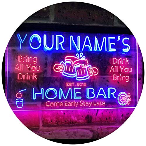 ADVPRO Personalized Your Name Custom Home Bar Beer Established Year Dual Color LED Barlicht Neonlicht Lichtwerbung Neon Sign Red & Blue 300mm x 210mm st6s32-p1-tm-rb
