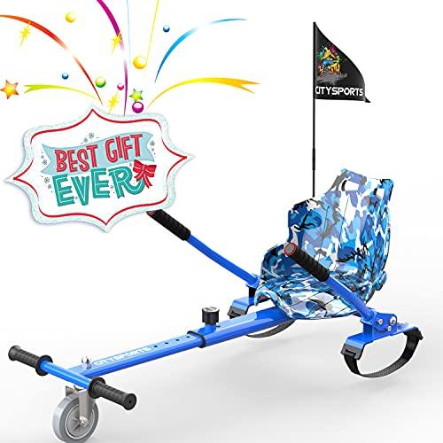 COLORWAY Aiento Kart para Hoverboards de Equilibrio Autom¨¢Tico Compatible con Scooter Electrico 6,5, 8 y 10 Pulgadas (Camuflaje Azul)