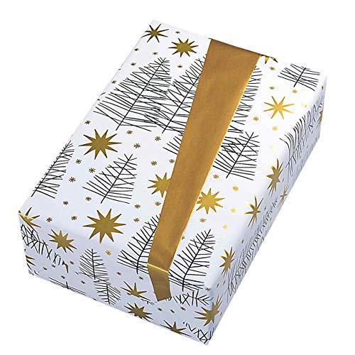 Geschenkpapier Rolle 50 cm x 50 m, Motiv Grace, elegantes Winterwalddesign mit goldenen Sternen und goldener Rückseite. Für Weihnachten, Geburtstag. Weihnachtsgeschenkpapier