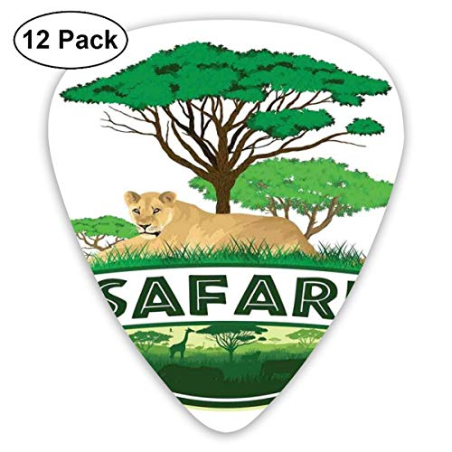 Guitar Picks12pcs Plectrum (0.46mm-0.96mm), African Savannah With Lion And Green Trees Wilderness Exotic Nature,For Your Guitar or Ukulele