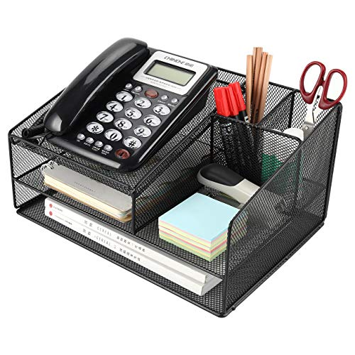 Superbpag Telephone Stand for Desk Organizer Office Suppies Desktop Organizer with Letter Tray Phone Stand Pen Pencil Holder, Black