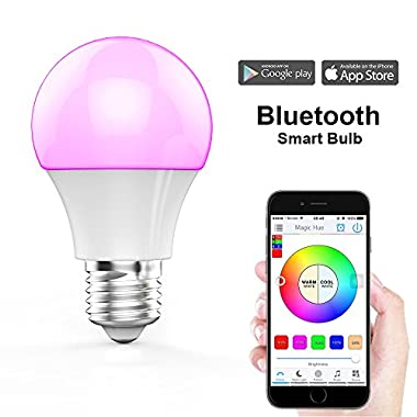Magic Hue Bluetooth Smart Light Bulb - Dimmable Multicolored Disco Light - Wake Up Lights & Sleeping Night Light - Smartphone Controlled LED Household Light Bulb