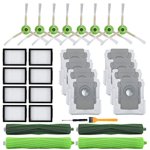 26 Pack Replacement Parts for iRobot Roomba E5 E6 E7 i3(3150) i3+(3550) i4 i6 i6+(6550) i7(7150) i7+(7550) i8 i8+ Robot Vacuum Accessories,2 sets Roller Brushes,8 Filters,8 Side Brushes,8 Dust bags