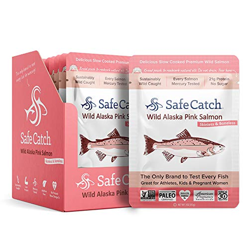 Safe Catch Wild PACIFIC Pink Salmon, Mercury Tested, 3 oz pouch (Pack of 12) [Packaging May Vary]