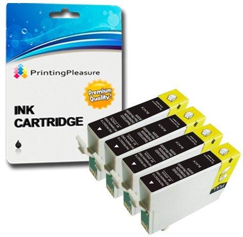 4 SCHWARZ Druckerpatronen für Epson Stylus D68, D88, D88 Plus, DX3800, DX3850, DX3850 Plus, DX4200, DX4250, DX4800, DX4850, DX4850 Plus | kompatibel zu Epson T0611