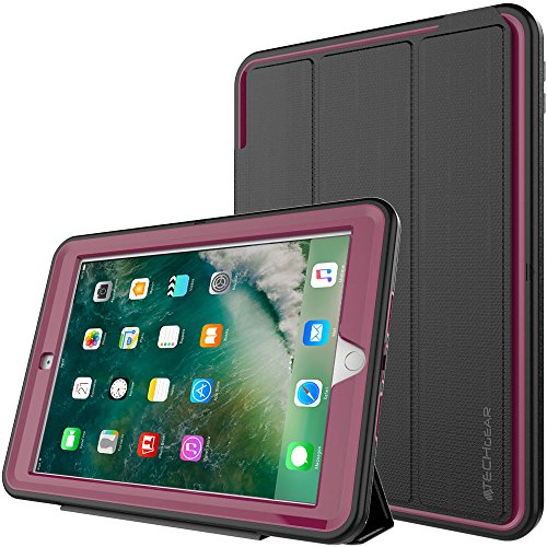 TECHGEAR D-FENCE Case fits New Apple iPad 9.7' (2018/2017) - Slimline Shock Proof Tough Rugged Protective Armour Defence Smart Case - Kids Schools Builders Workman Case for 5th & 6th Gen iPad 9.7'
