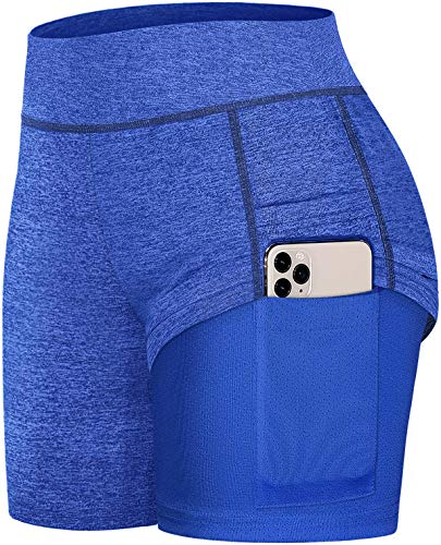 Fulbelle Womens Shorts for Summer, Teen Girls Form Fitting Fast Athletic Workout Running Yoga Shorts Gym Tennis Skirts with Pockets High Waisted Fashion Mesh Short Pants Blue S