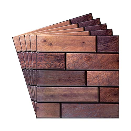 CARRYKT 3D Wall Panels 5 Pack, Wall Panels for Interior Wall Decor, Self-Adhesive Waterproof Foam Wall Tiles Wood for TV Background Walls Bedroom(Non.7)