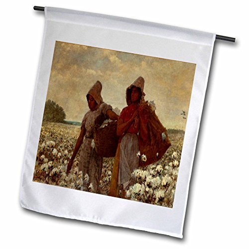 3dRose FL_196340_1 Kunstdruck Winslow Homer Gemälde The Cotton Pickers Gartenflagge, 30,5 x 45,7 cm, Weiß
