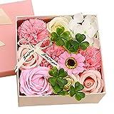 WEFH Regalo de cumpleaños del día de San Valentín Rosa Flor de jabón Rosa Exquisita Caja de Flores pequeña, Rosa