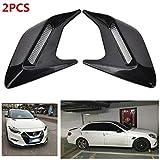 Luyao 2 piezas Simulación exterior del coche de ventilación decoración pegatinas accesorios de moldeo exterior del coche (negro, blanco, plata)