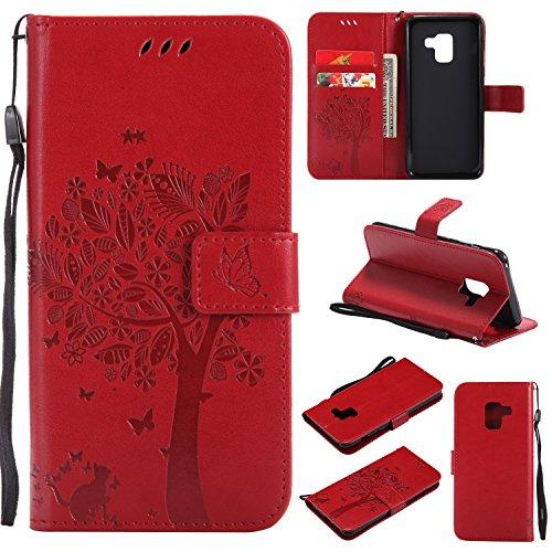 Artfeel Samsung Galaxy A8 Plus 2018 Portefeuille en Cuir Coque,Motif en Relief Arbre Papillon Fleur Housse,Style Livre avec Fentes pour Cartes Fermeture Magnétique Support Étui-Rouge