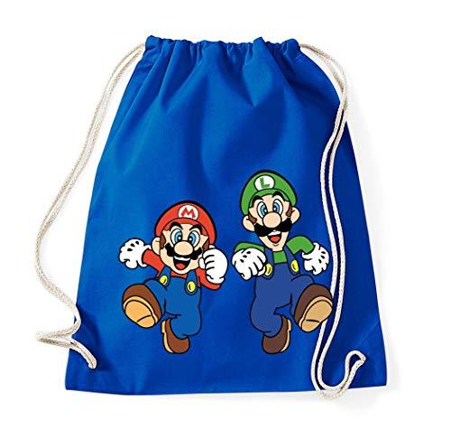 TRVPPY Baumwolltasche Turnbeutel Tasche Modell Mario & Luigi - Royalblau