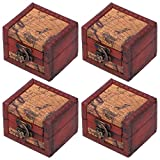 Caja de joyería de 4 piezas, cofre del tesoro pequeño, caja hecha a mano...