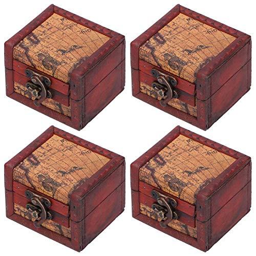 Caja de joyería de 4 piezas, cofre del tesoro pequeño, caja hecha a mano vintage, caja de anillos de madera, caja con mini cerradura de metal para guardar joyas, tesoros
