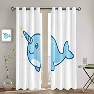 DONEECKL Narwhal Kitchen Curtain Cartoon Drawing Style Whale with Rainbow Horn Unicorn of The Ocean Arctic Animal Soundproof Shade W52 x L72 Inch Multicolor