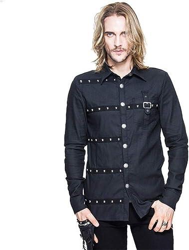Baoffs Chemises Décontracté Hommes Classiques T-Shirt à Manches Longues en Coton Punk Rock pour Hommes, Couleur Unie, de Couleur Unie pour Hommes Chemises boutonnées Occasionnelles géniales (Taille   XXL)