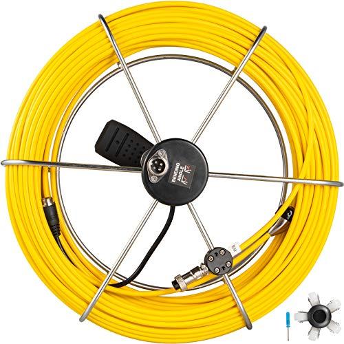 Cable de Cámara de Inspección de reemplazo 50m Amarillo Repuesto para Cámara de Inspección de Drenaje Alcantarillado Impermeable IP68 con Soporte