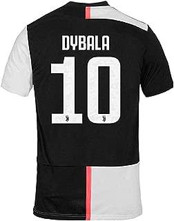 QKMKO Juventus Dybala Jersey #10 2019-2020 Home Mens Soccer Team Jersey Black&White