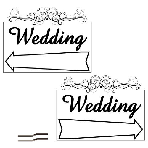 "VictoryStore Yard Sign Outdoor Lawn Decorations: 18"" x 24"" Corrugated Plastic Sign - 2 Sided Wedding Arrow Design with stakes"