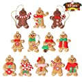 "12pcs Gingerbread Man Ornaments for Christmas Tree - Assorted Plastic Gingerbread Figurines Ornaments for Christmas Tree Hanging Decorations 3"" Tall"