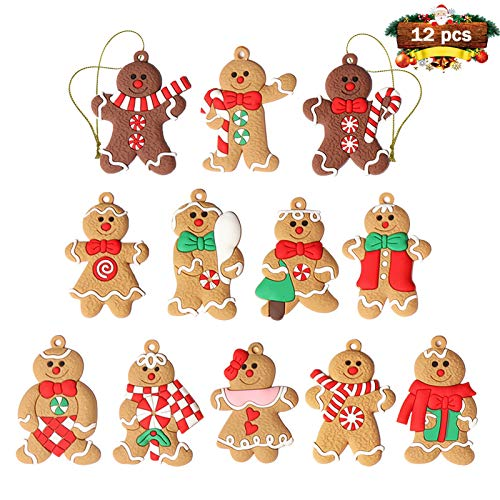 12pcs Gingerbread Man Ornaments for Christmas Tree Assorted Plastic Gingerbread Figurines Ornaments for Christmas Tree Hanging Decorations 3 Inch Tall