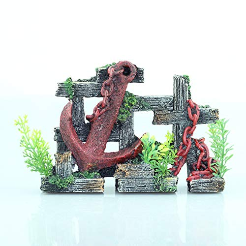 LXLH Artesanías de Fondo de pecera Decoración de Ancla desgastada en Acuario, Escultura de Resina Antigua Figuras de escombros del Fondo Marino