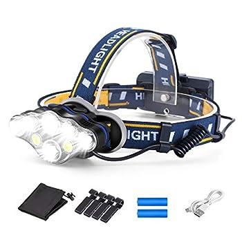 OUTAD Lampe Frontale LED, Lampe Frontale Rechargeable 8 LED, Puissante USB Super Lumineux avec 8 Modes pour Camping Pêche Jogging Lecture Travail Randonnée