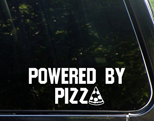 Powered by Pizza- 8-3/4' x 3-3/4' - Vinyl Die Cut Decal/Bumper Sticker for Windows, Cars, Trucks, Laptops, Etc.