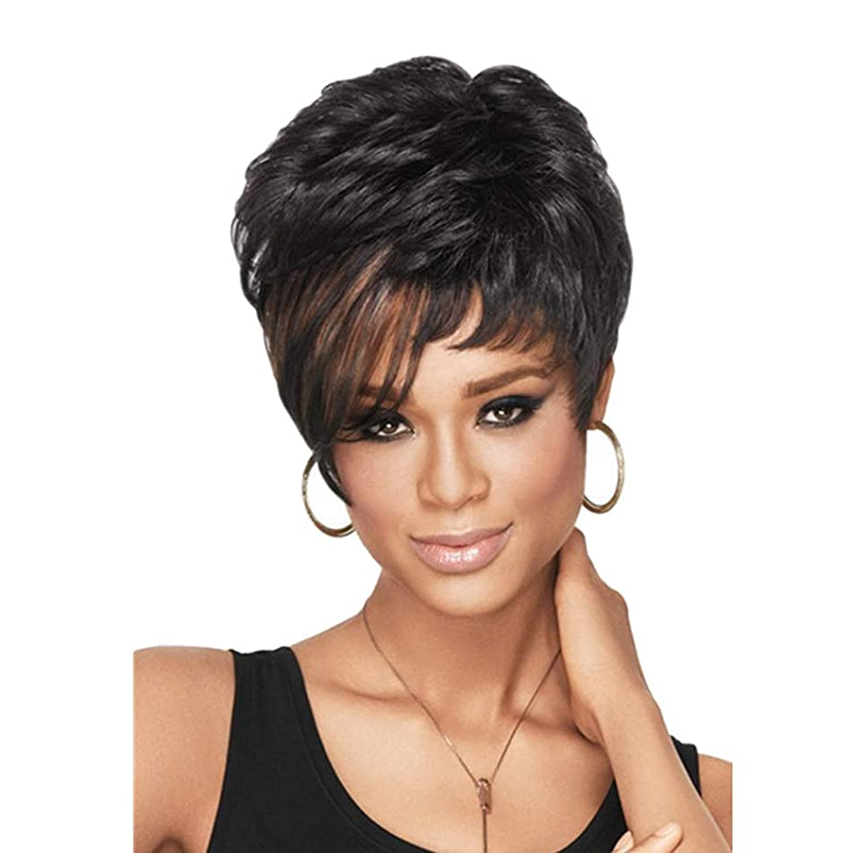 NEWNESS Hightlights Brown Black Pixie Cut Wig Short Synthetic Hair Wigs Natural Curly Fluffy Heat Resistant Fiber Hair Full Wigs for Black Women