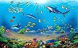 Papel tapiz fotográfico 3D Mundo submarino de pirañas gigantes HD Pared de fondo 3D 430cmx300cm (169.3x118.1inch) Póster mural personalizado sala de estar dormitorio decoración pintura