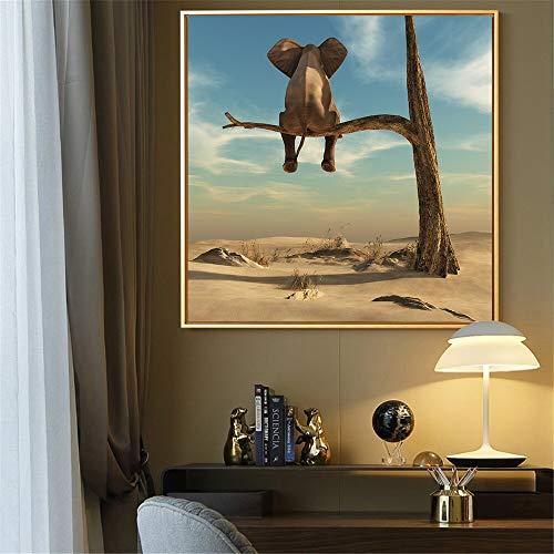 wZUN Elefante en el árbol Pintura Mural Simple Lienzo Cuadros Carteles nórdicos e Impresiones decoración del hogar decoración de la habitación de los niños 60x60 Sin Marco