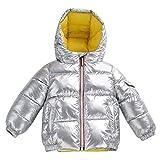 YFPICO 2019 Nueva Chaqueta de plumón para niños niños y niñas Engrosamiento de Ropa de bebé para niños Invierno, Plateado, 11-12años(150cm)