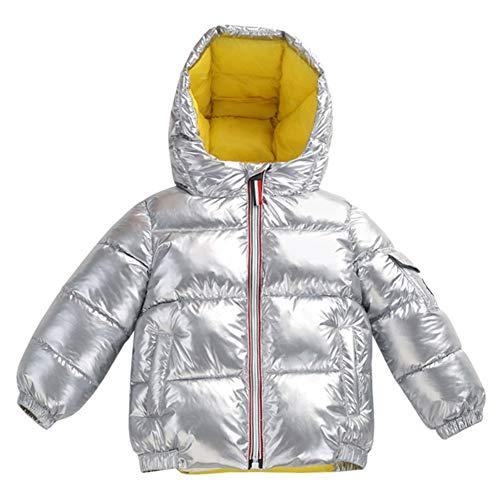 YFPICO Jungen Mädchen Winterjacke Daunenjacke mit Kapuze Kinder Warm Daunenmantel Wintermantel Steppjacke, Silber, 98 (Etikettengröße:100)