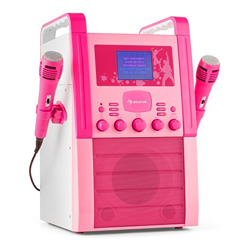 auna KA8P-V2 BK  karaoke  reproductor de karaoke para nios  pantalla TFT de 3,5 pulgadas  2 x micrfonos dinmicos  altavoz integrado  salida de video  Reproductor de CD+G  MP3  rosa