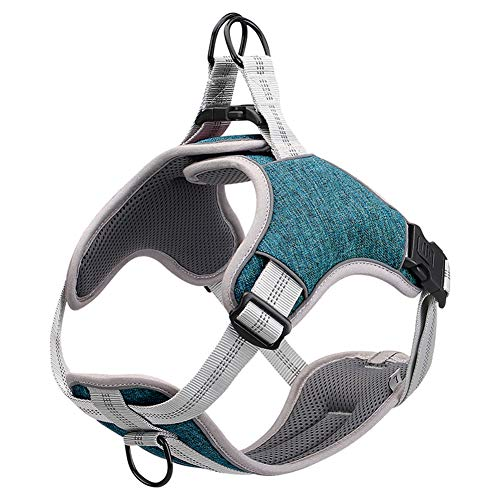 No Pull Dog Harness Reflective Adjustable Vest, Soft Mesh Padded Pet Vest for Walking Training Running, Suitable for Small Medium Large Dog [Easy to Put on & Take Off]
