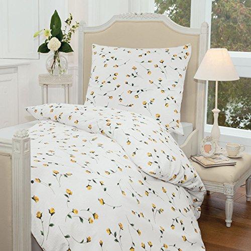Janine Design Seersucker Bettwäsche Tango gelb 1 Bettbezug 155 x 220 cm + 1 Kissenbezug 80 x 80 cm