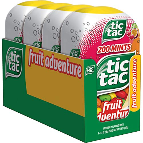 Tic Tac Fresh Breath Mints, Fruit Adventure, Bulk Hard Candy Mints, 3.4 oz Bottle Packs, 4 Count