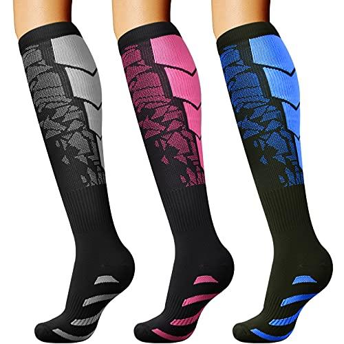DRESHOW Calcetines de Compresión para Hombres y Mujeres 3/7 Pares 15-20 mmHg es el Mejor para Running, Correr, Senderismo,...