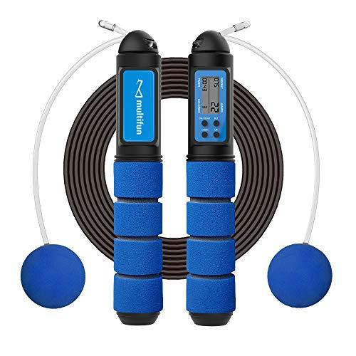 Springseil mit Zähler, multifun Seilspringen Erwachsene mit PVC Ummantelung, Profi Jump Rope mit Kugellager & Rutschfeste Griffe, Länge einstellbare Speed Rope für Anfänger & Fortgeschrittene