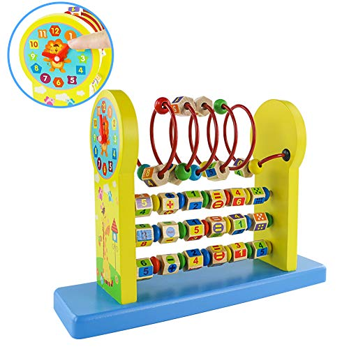 Giochi in Legno per Bambini Abaco con Numeri Orologio Giochi Montessoriani Matematica Giocattolo Educativi Regalo Ragazza Ragazzo 3 4 5 6 Anni
