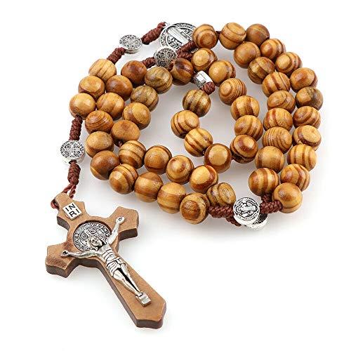 HOUSE CLOUD Rosario de San Benito católico de madera de olivo, rosario católico con medalla hecho a mano