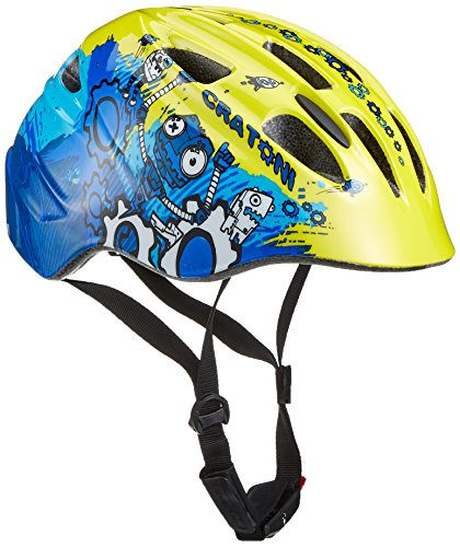 Cratoni Kinder Fahrradhelm Akino, Robo Yellow-Blue Glossy, S