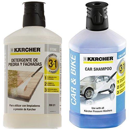 Kärcher 6.295-765.0 - Limpiador de piedra y fachadas 3 in 1 (1 l) + 6.295-750.0 - Champú detergente para coches 3 en 1