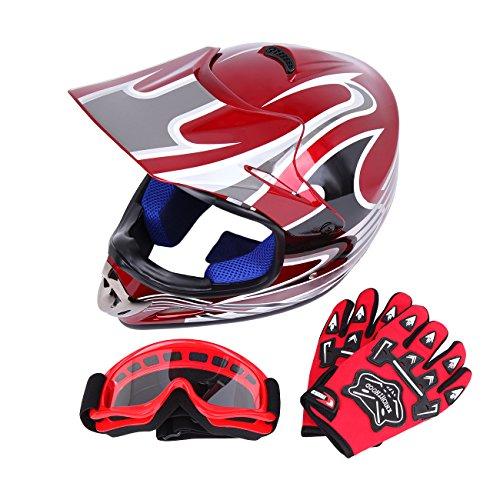 Samger DOT Youth Niños Fuera del Casco de Motocross Dirt Bike Casco con Guantes Gafas(Rojo,L)