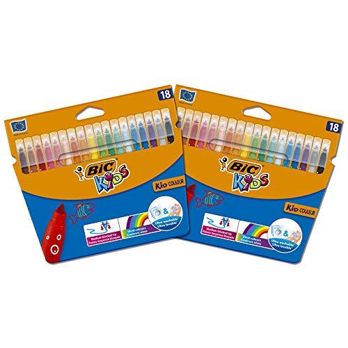BIC Kids Kid Couleur Feutres de Coloriage à Pointe Moyenne - Couleurs Assorties, Lot de 2 Etuis Carton de 18