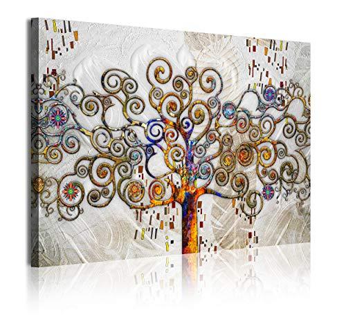 DekoArte 356 - Quadri Moderni Stampa di Immagini Artistica Digitalizzata | Tela Decorativa per Soggiorno o Stanza da Letto | Stile Astrazioni Albero della Vita Gustav Klimt Argento| 1 Pezzo 120x80 cm