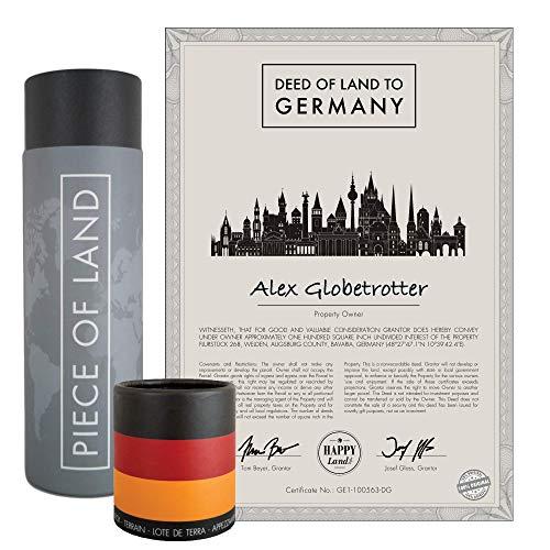 happylandgifts® Echtes Deutschland Grundstück als einzigartiges Geschenk für Fans der Bundesrepublik | Personalisierte Besitzurkunde mit Wunschname | Deutschland Geschenkidee | Namenstagsgeschenke